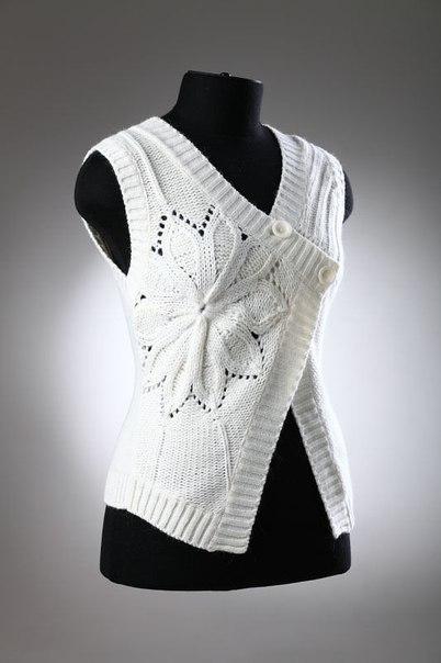 Узор с вытянутыми петлями для летнего пуловера
