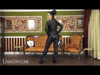 Trying on all My black leather trousers Ezada Sinn's Collection feet worship