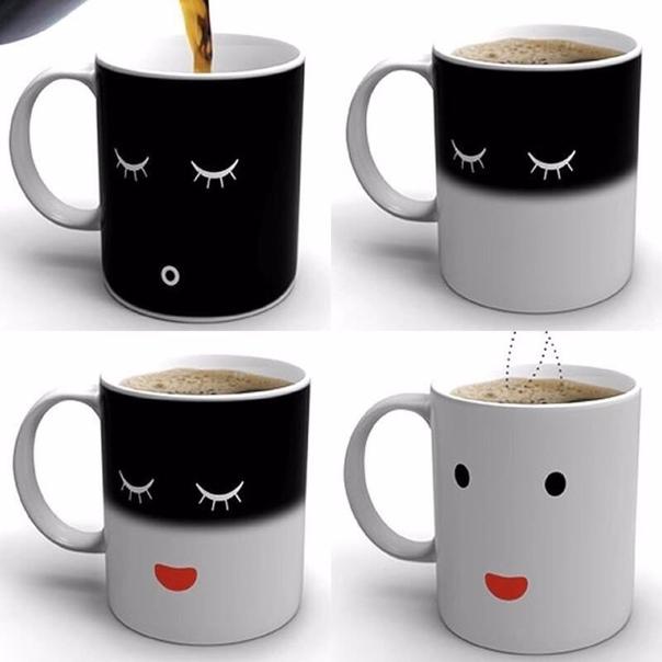 """Чашка, которая """"просыпается"""" от горячего чая или кофе..."""