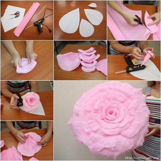 Гигантские цветы из бумаги. Отличные идеи для оформления...