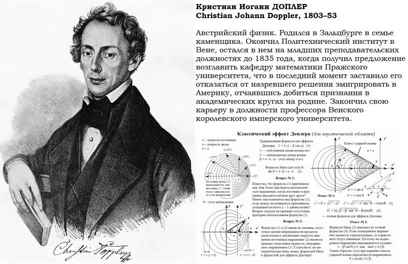 Эффект Доплера [1842] Воспринимаемая частота волны зависит от относительной скорости ее источника.