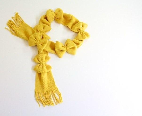 Украшаем обычный шарф объемными бантиками