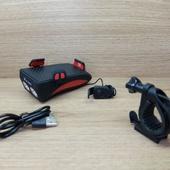 Фонарь передние HORN FY-319 Литий-ионный c сигналом (звонком) + держатель для телефона. красный