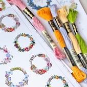 Наклейки Сезоны в пяльцах (комплект) для блокнота (личного дневника) вышивальщицы