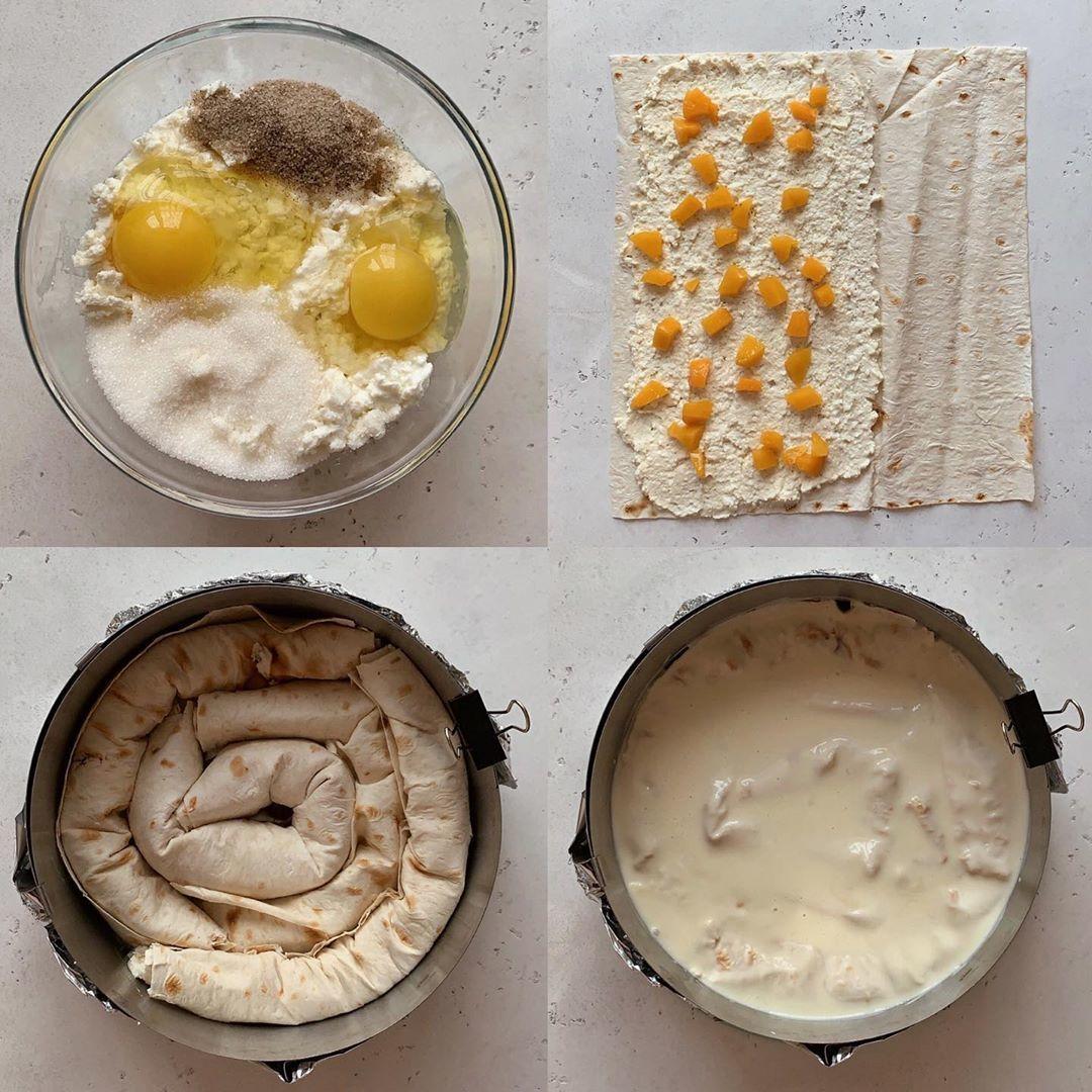 Творожный пирог из лаваша