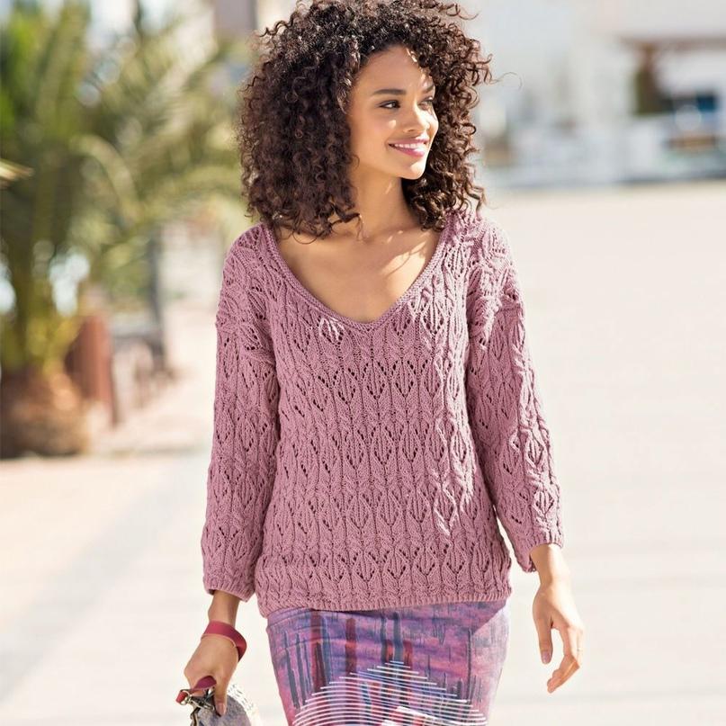 Пуловер цвета мальвы