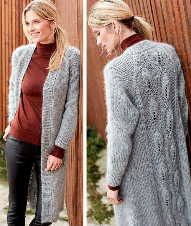 Пальто с узором «Листочки». Описание вязания