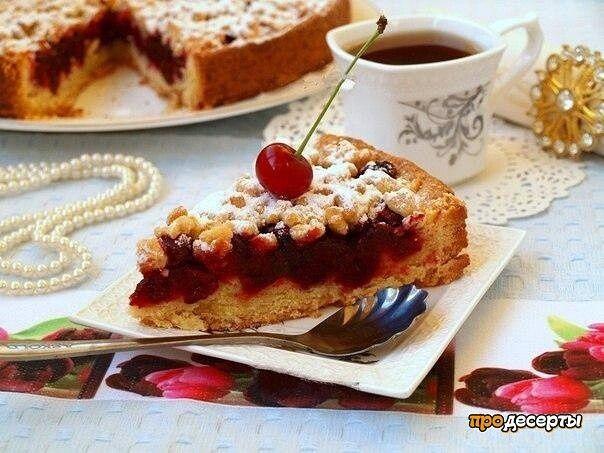 Рецепт песочного пирога с вишней.