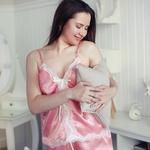 Пижама женская персиковая с кружевом  РР-03-01-01-10