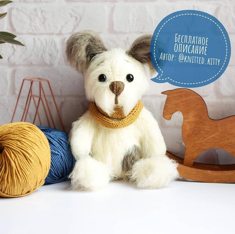 Описание вязания щенка в комбинезоне 🐕