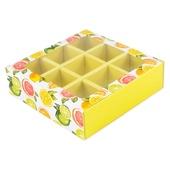 """Коробка для 9 конфет с разделителями """"Цитрус"""""""
