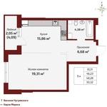 1-комнатная (евроформат) квартира, 50,12 кв.м.