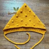 Шапка Гномик с пупырками горчичного цвета на голову 40-44 см