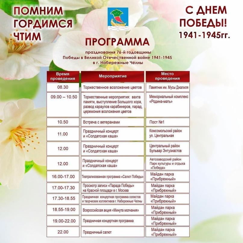 Власти Челнов рассказали о программе празднования Дня Победы