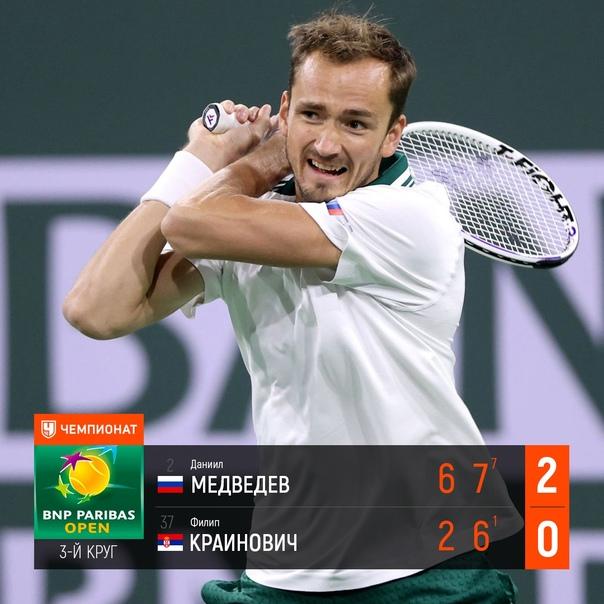 Даниил Медведев уверенно вышел в четвёртый круг Индиан-Уэллса...