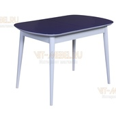 Обеденный стол Премиум, раздвижной(белый/синий)