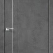 Дверное полотно TECHNO М2  вертикальных молдинга Экошпон с замком 1895 и алюминиевой кромкойМуар тем