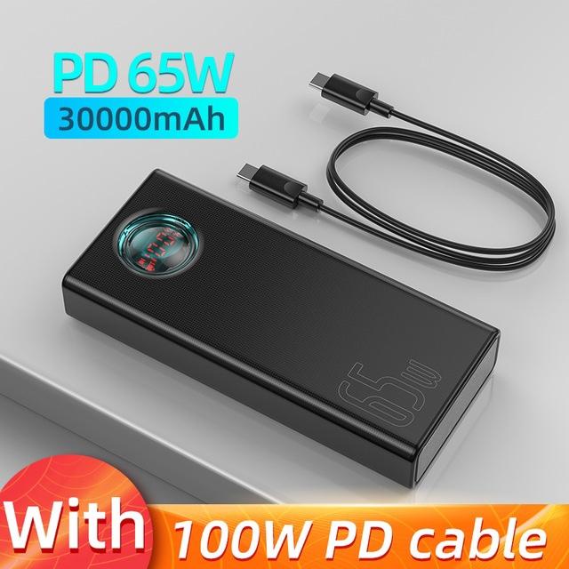 Powerbank Baseus 65 Вт на 20000 и 30000 mAh. На LED дисплее отображаются текущие...