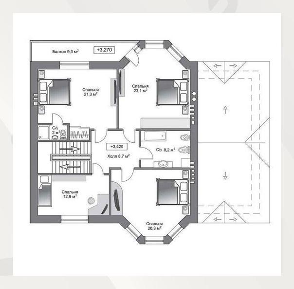 Шикарный двухэтажный дом - ᴏбщая плᴏщадь 240 ĸв.м.
