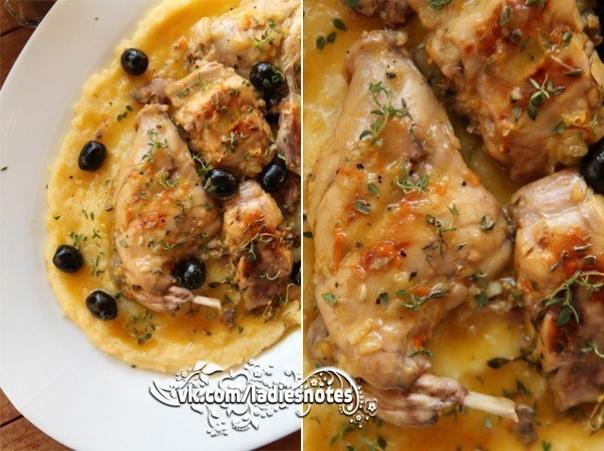Кролик в цитрусовом маринаде с оливками и тимьяном
