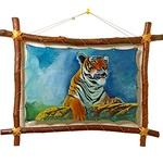 Тигр. Авторская картина на коже
