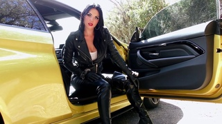 Young Goddess Kim in leather thigh high boots femdom pov